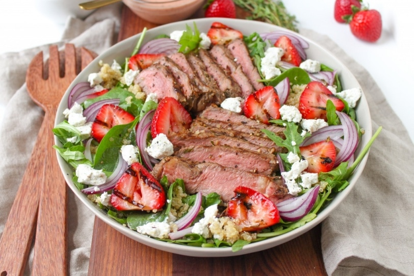 grilled steak and strawberry salad