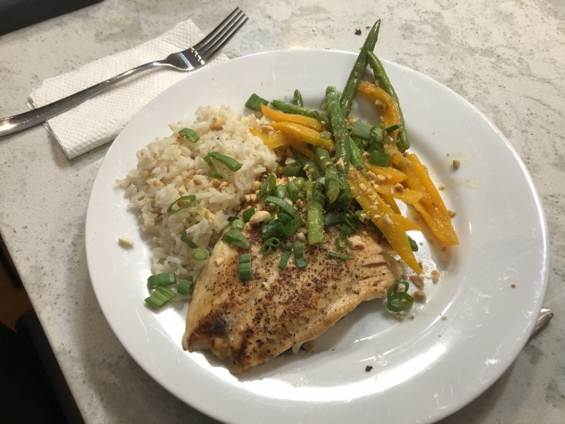 asian salmon with rice and veggies and soy glaze