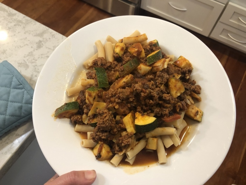 pasta night with ground beef bolognese and zucchini