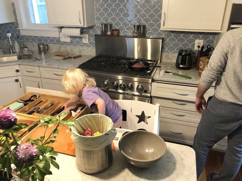making dinner with a toddler