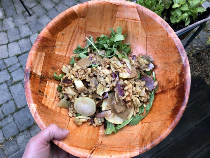 grain bowl with barley chicken arugula and pear