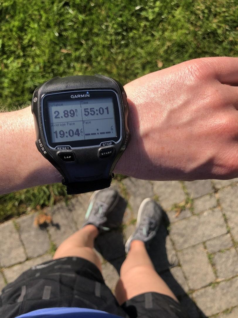 garmin watch with 3 mile run/walk