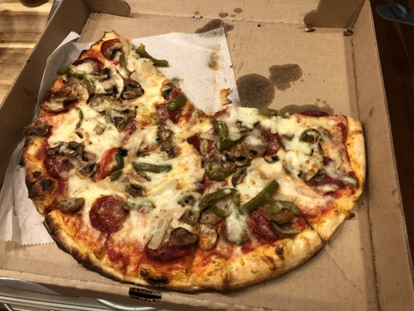 pizza with pepperoni and veggies
