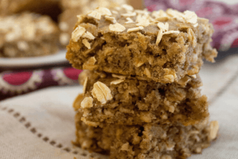 almond butter banana breakfast bars made with overripe bananas
