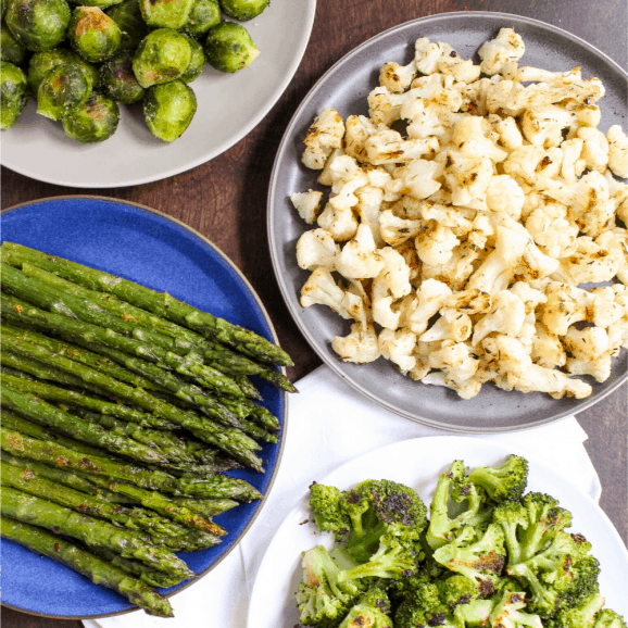 how to roast frozen vegetables: cauliflower, broccoli, asparagus, and brussels sprouts