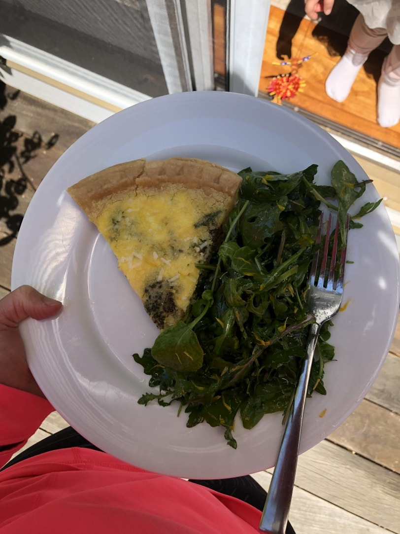 broccoli and parmesan quiche with salad