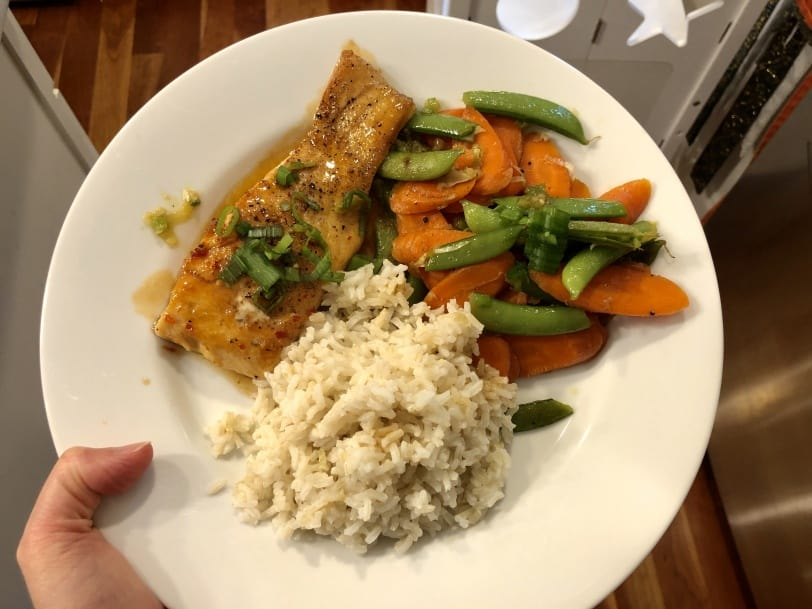 asian salmon with vegetables and brown rice