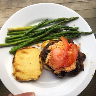 burgers with pimento cheese, tomato, and asparagus