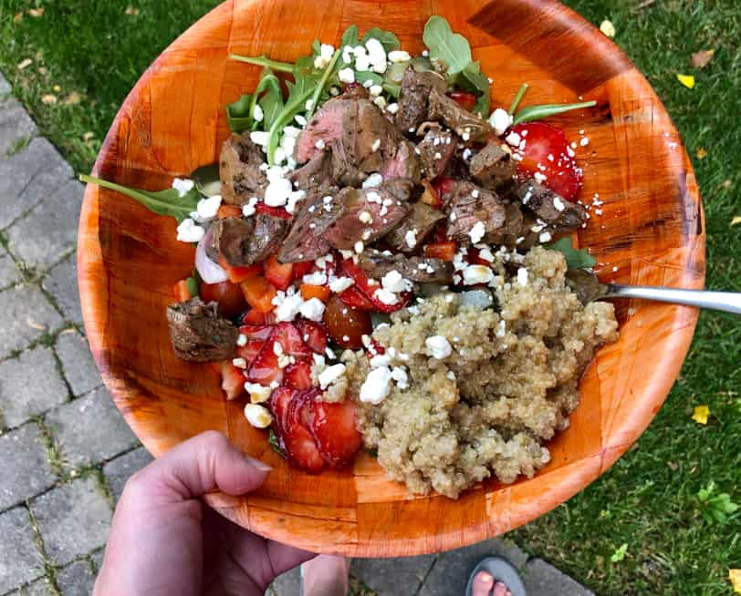 steak and strawberry quinoa salad with arugula
