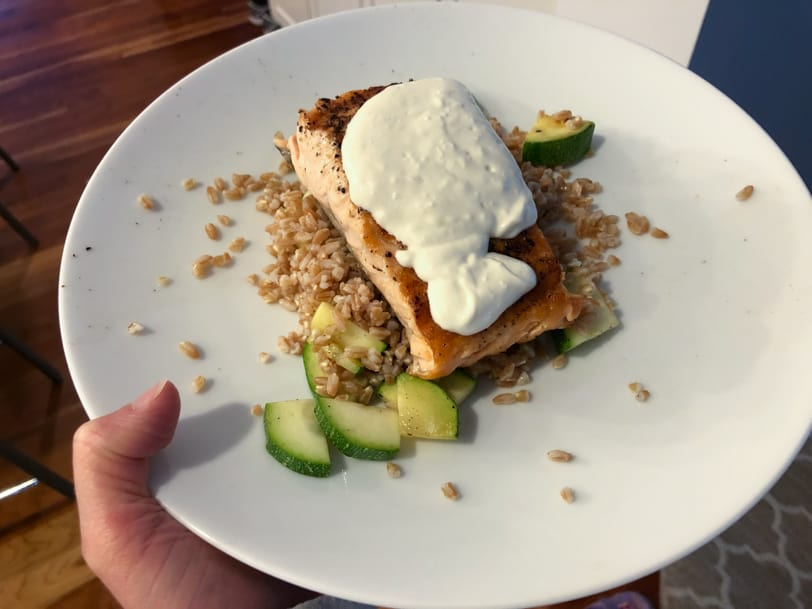 salmon with farro, zucchini, and lemon yogurt sauce