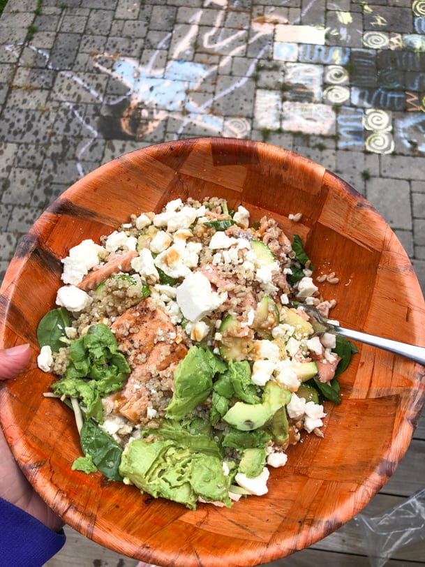leftover salmon salad with quinoa, avocado, feta, greens