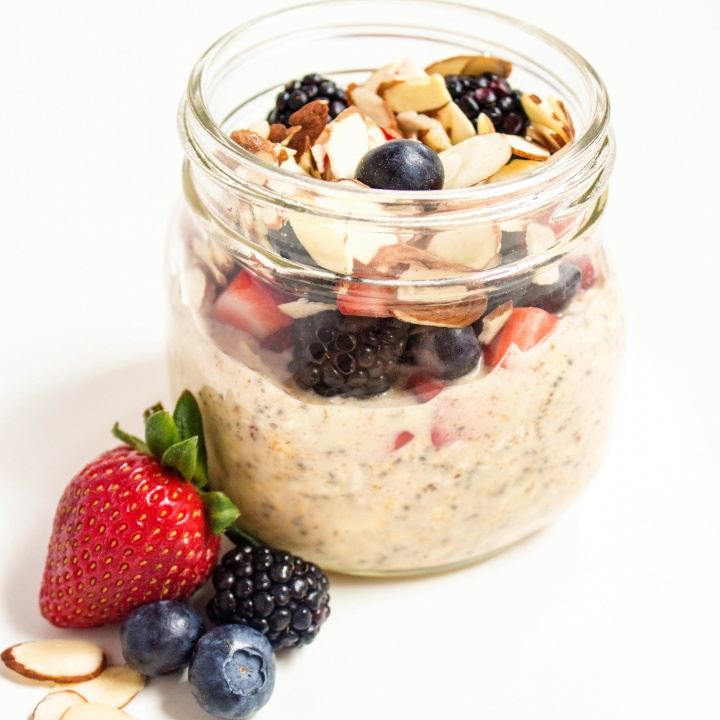 Almond Milk Overnight Oats with Berries