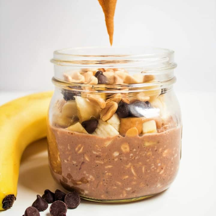 chocolate peanut butter banana overnight oats in a mason jar