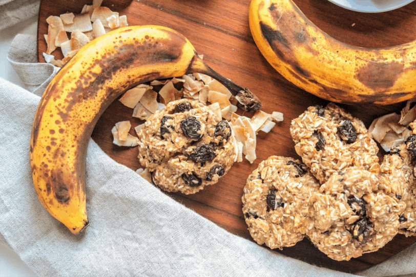 oatmeal coconut cookies with overripe bananas