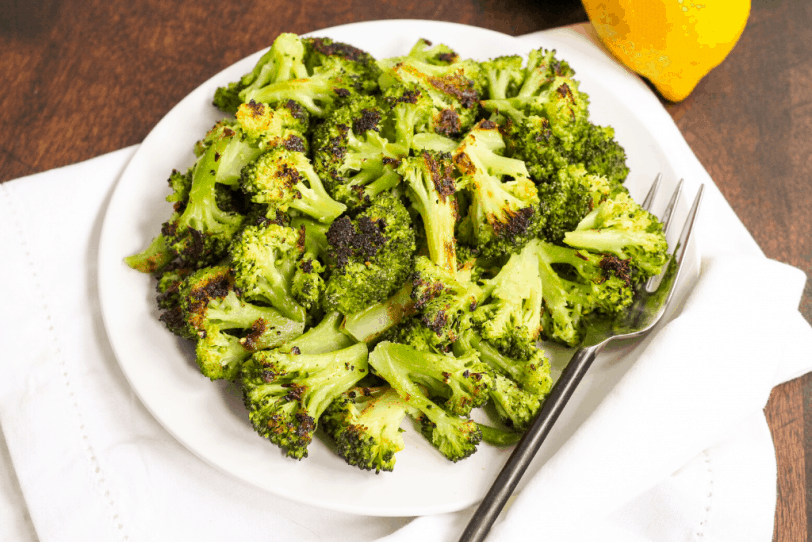 roasted broccoli on a plate