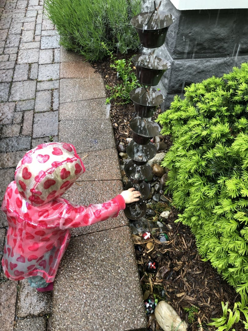 toddler fascinated by a rain downspout