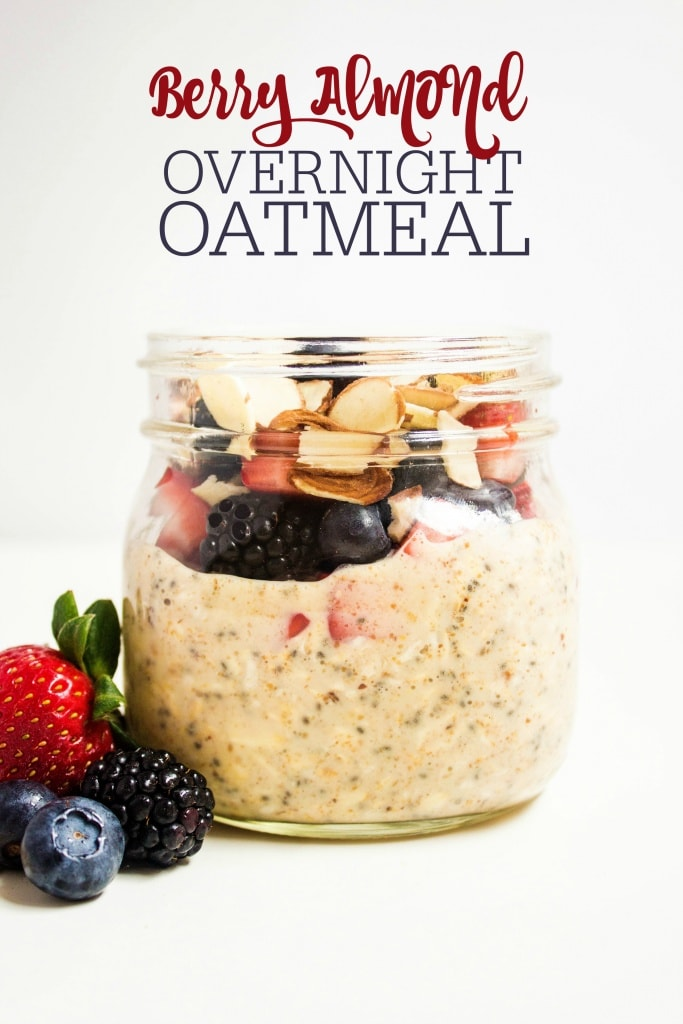 almond milk overnight oats with berries in a mason jar