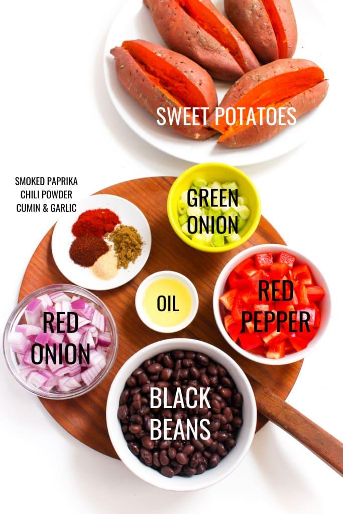 Mexican stuffed sweet potato ingredients