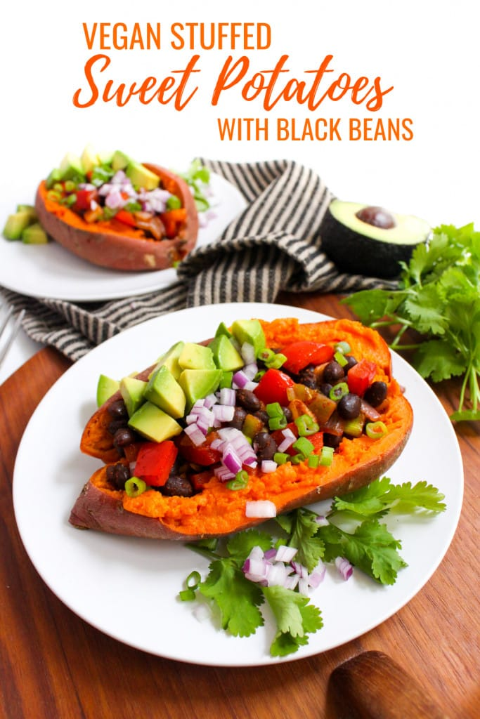 Mexican stuffed sweet potatoes with black beans and avocado