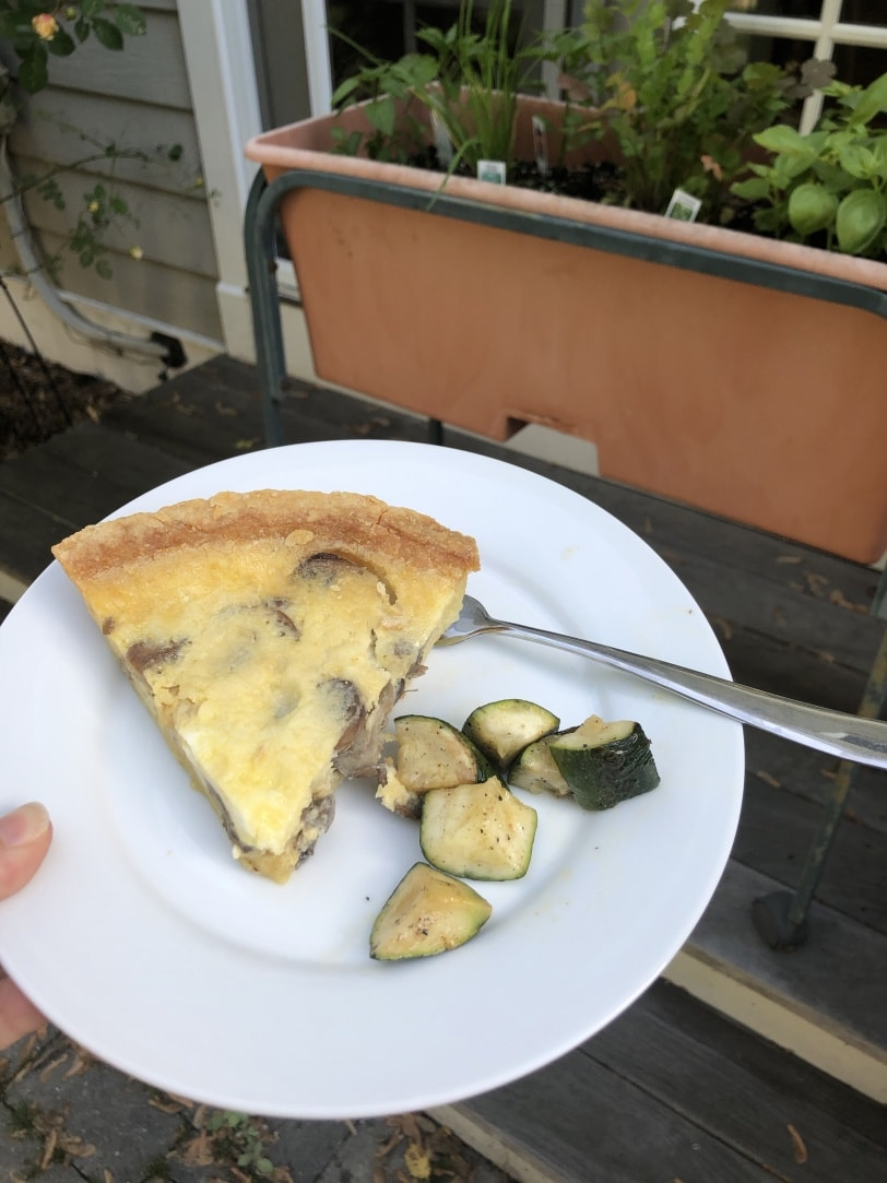 mushroom quiche with a side of leftover zucchini