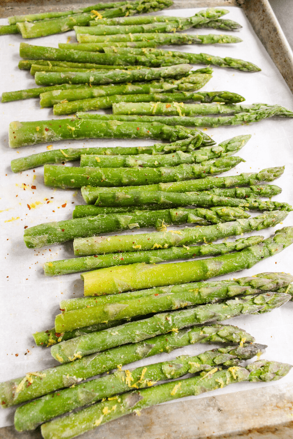 frozen asparagus on sheet pan