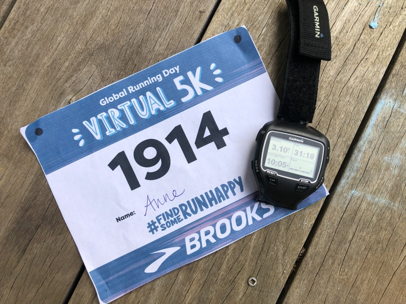 global running day virtual 5k bib and watch
