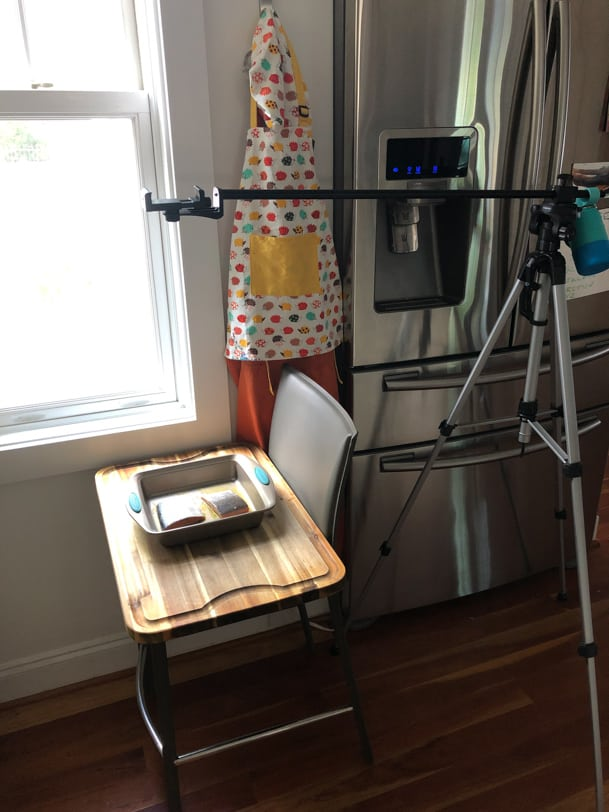 food blogger video set up with phone on a tripod