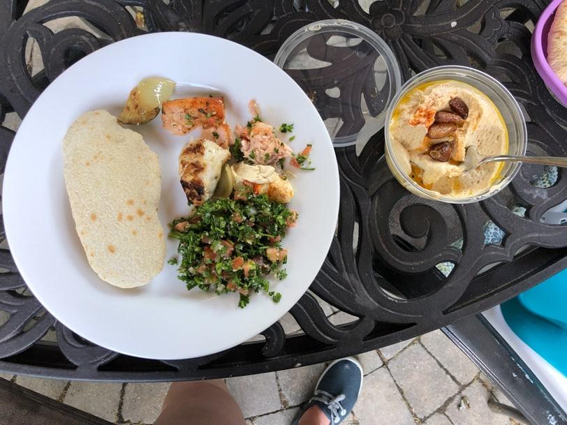 lebanese taverna tabouleh, hummus, salmon, chicken, pita