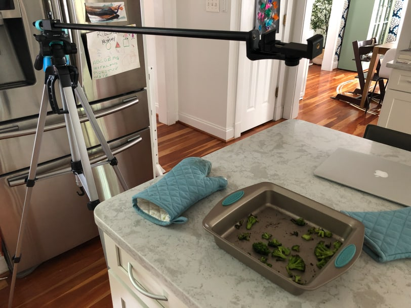 video set up for roasting frozen broccoli