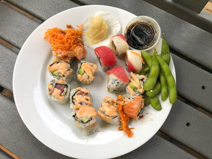 sushi and edamame