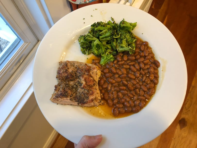 chicken thighs, baked beans, and roasted broccoli