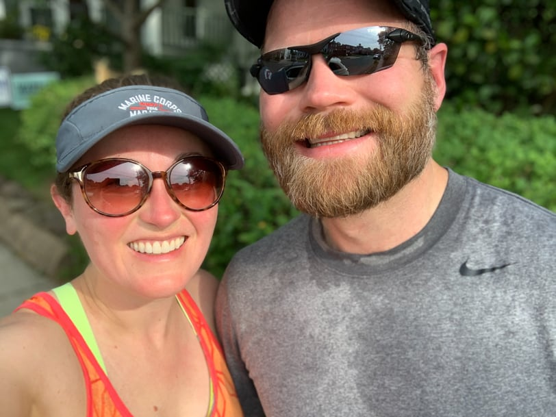 husband and wife running together