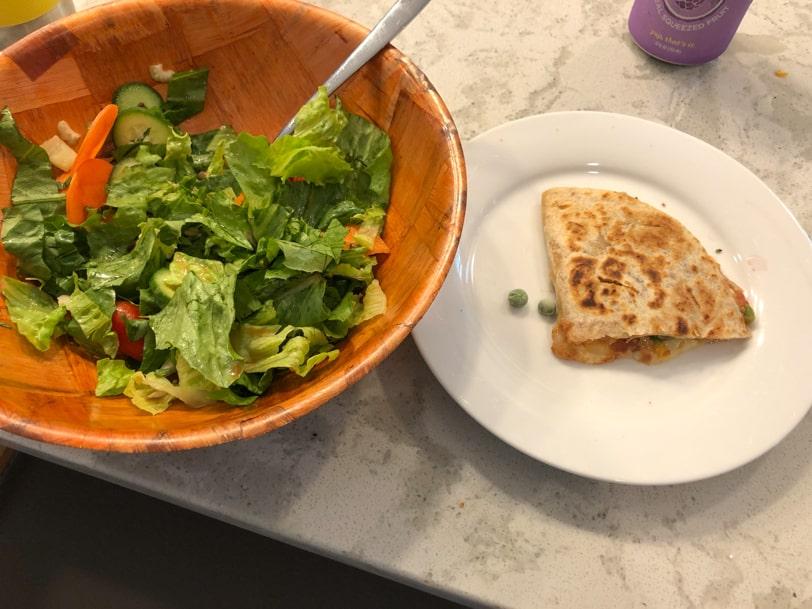salad and a quesadilla