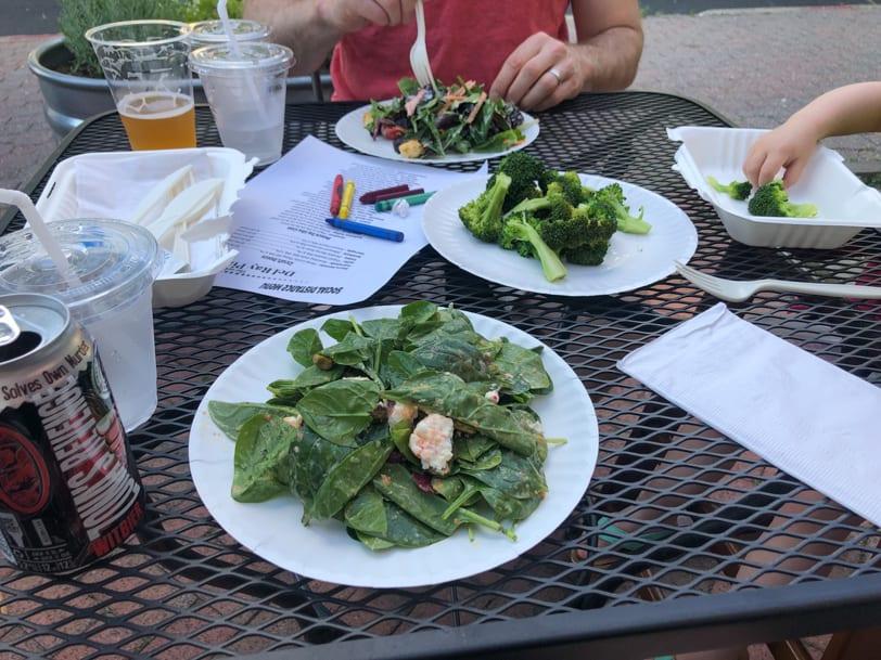 salad outside at del ray pizza
