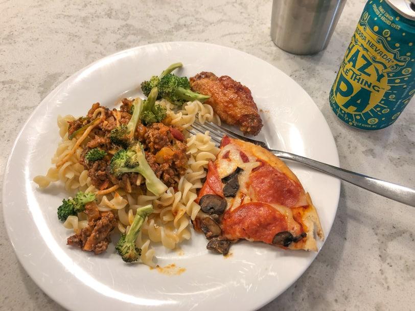 random leftovers - pizza, pasta, broccoli, wings