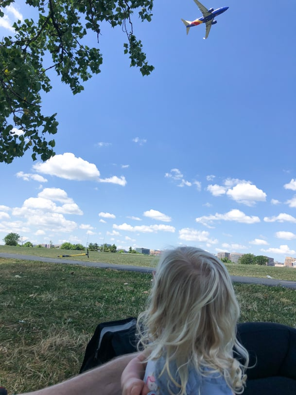 watching planes fly overhead at gravelly point