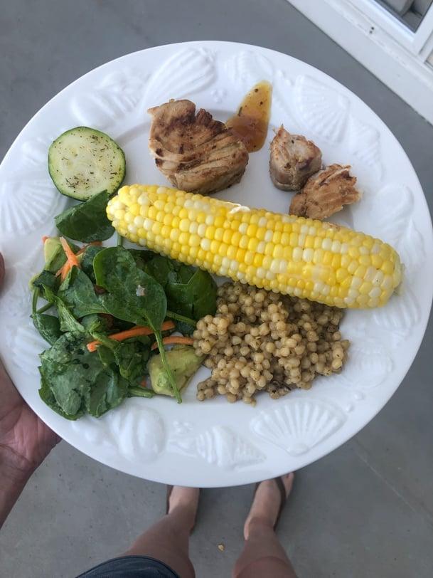 tuna with corn and salad
