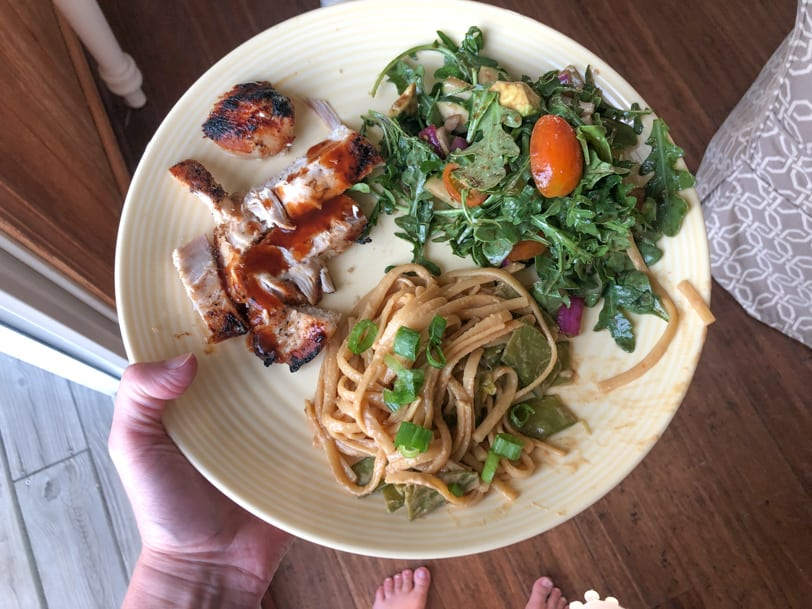 peanut pasta with chicken and salad