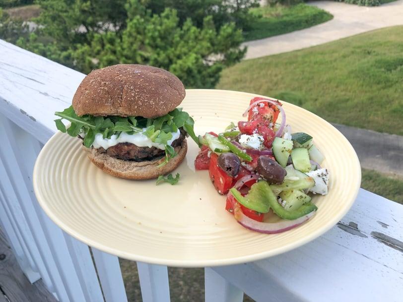 greek lamb burgers with lemon mint yogurt sauce and greek salad