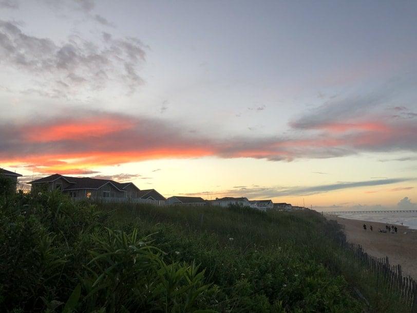 sunset over duck nc beach