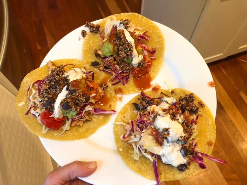salmon and black bean tacos