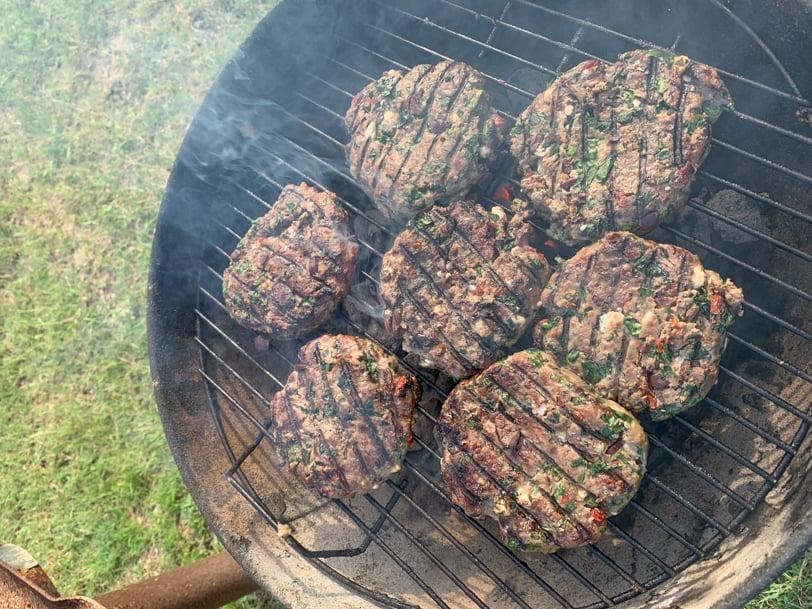 greek lamb burgers on the grill