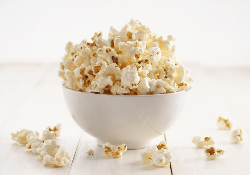 eating popcorn late at night