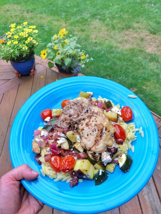 mediterranean chicken with veggies and orzo