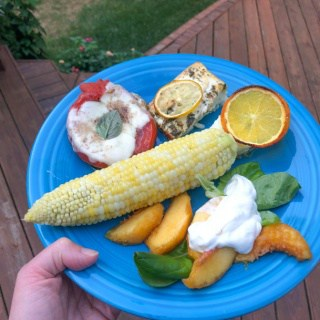 corn with peaches and fish