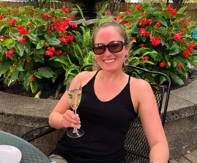 relaxing with some champagne