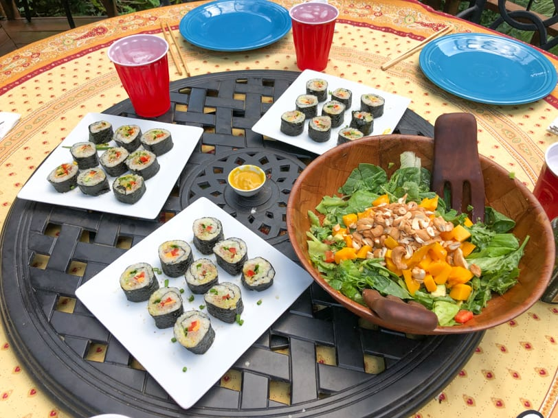 sushi and salad dinner