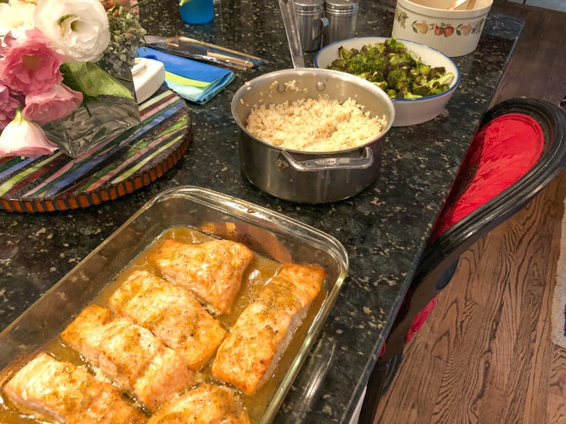 orange ginger salmon with rice and roasted broccoli