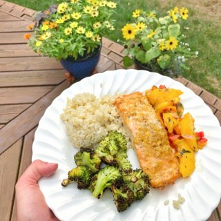 orange ginger salmon, brown rice, roasted broccoli