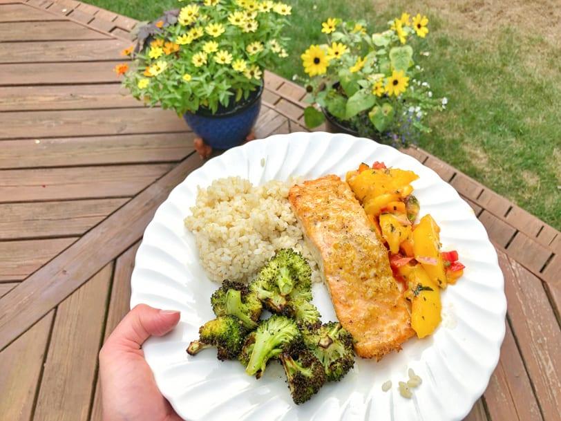 orange ginger salmon, brown rice, roasted broccoli